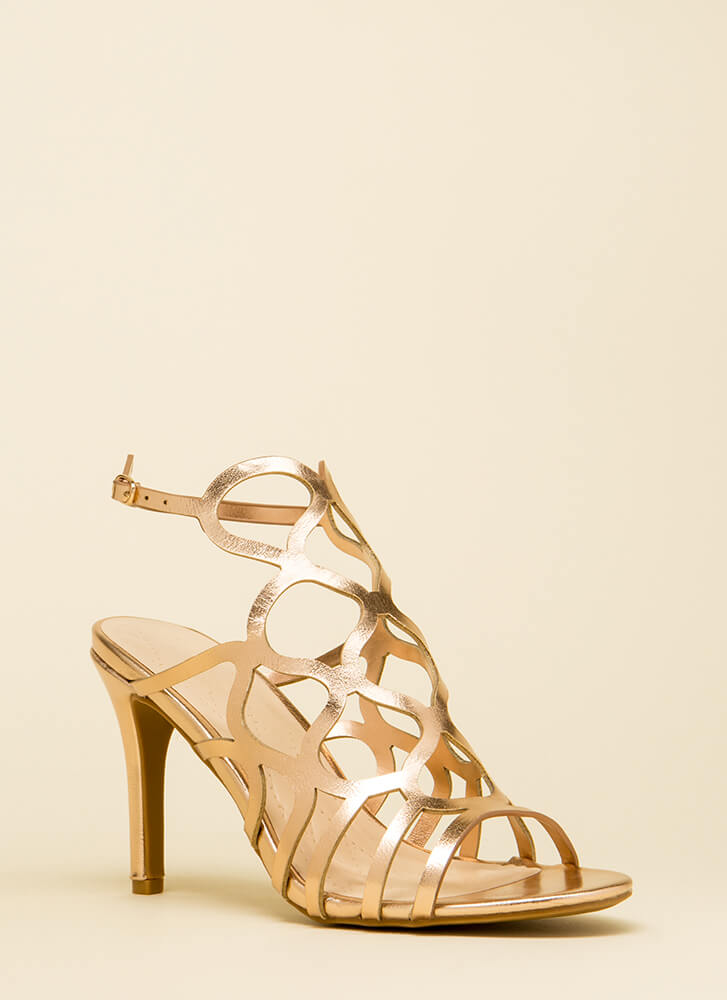 Oh Honey Cut-Out Metallic Heels ROSEGOLD