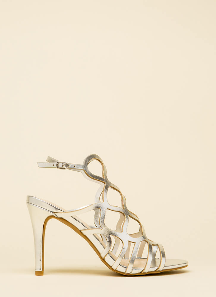 Oh Honey Cut-Out Metallic Heels SILVER