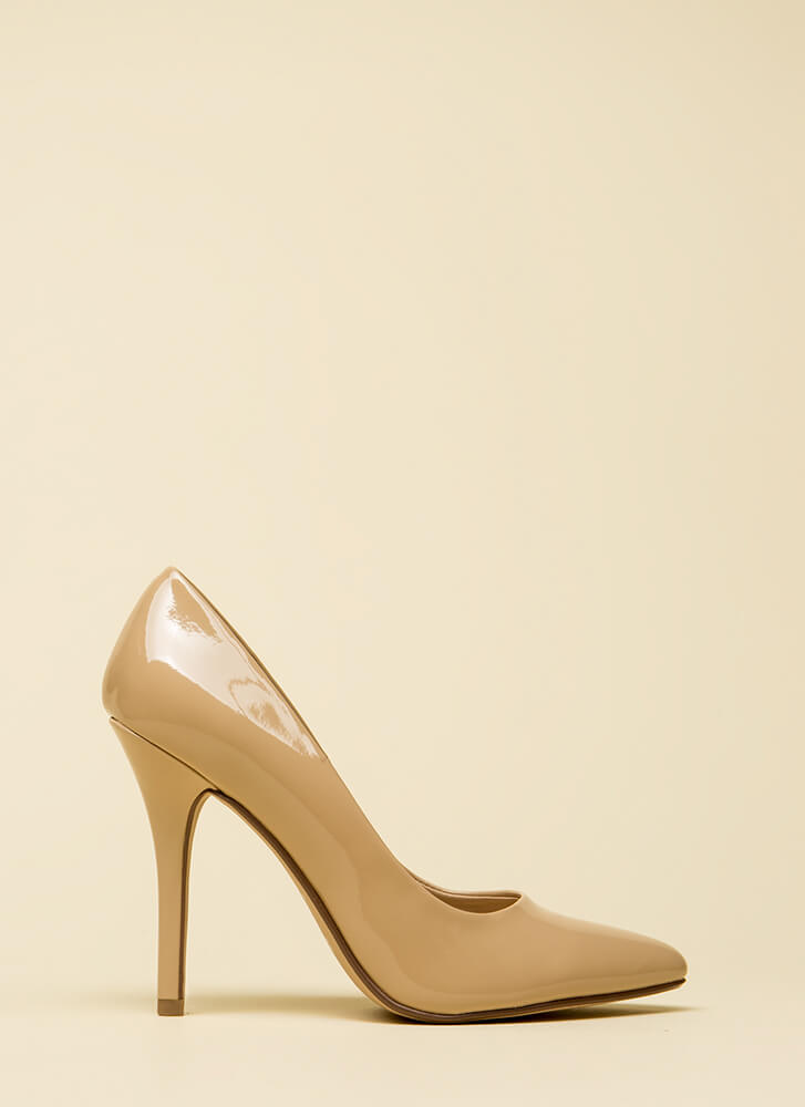 I Have A Date Pointy Faux Patent Pumps DKBEIGE