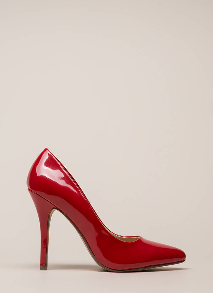 I Have A Date Pointy Faux Patent Pumps LIPSTICK