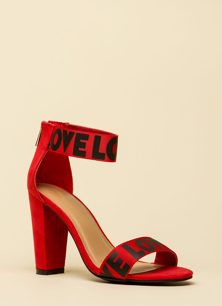 All You Need Is Love Chunky Heels RED