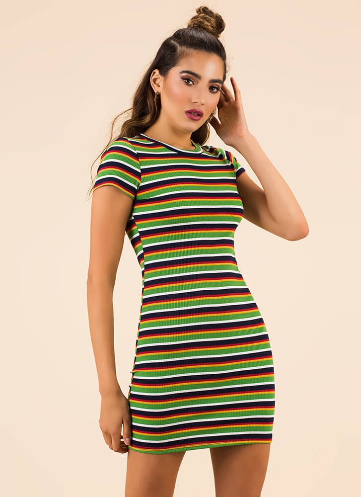 Simply Striped Rib Knit Minidress NAVY