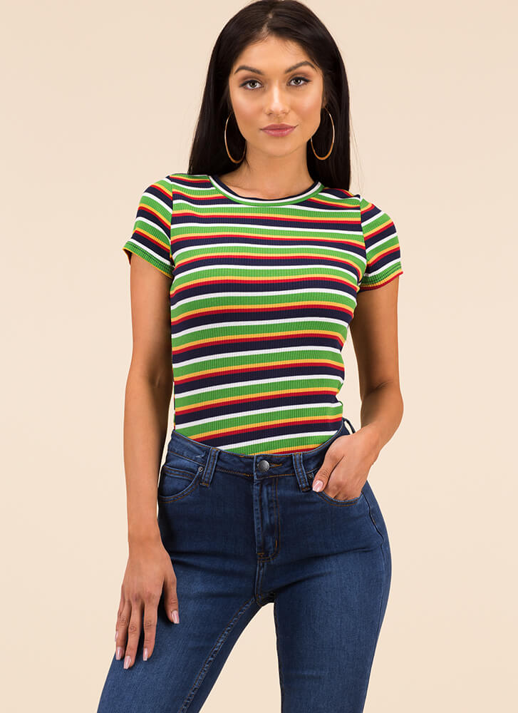 No Work All Play Striped Rib Knit Top NAVY