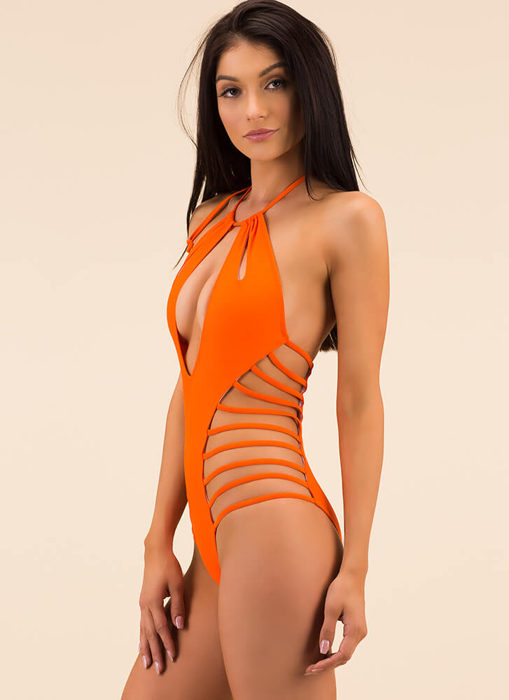 Because I'm Strappy Cut-Out Swimsuit ORANGE (Final Sale)