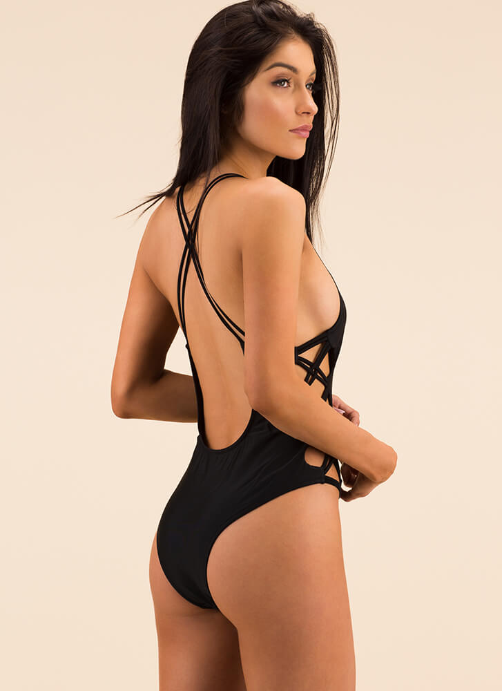 X On The Beach Strappy Swimsuit BLACK