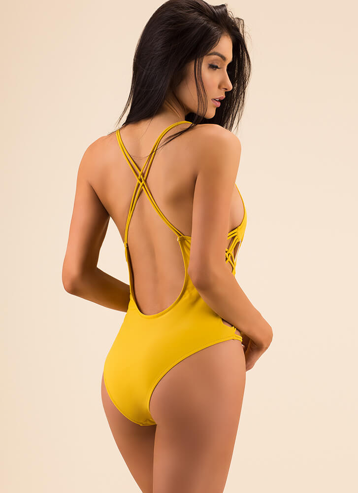 X On The Beach Strappy Swimsuit MUSTARD (Final Sale)