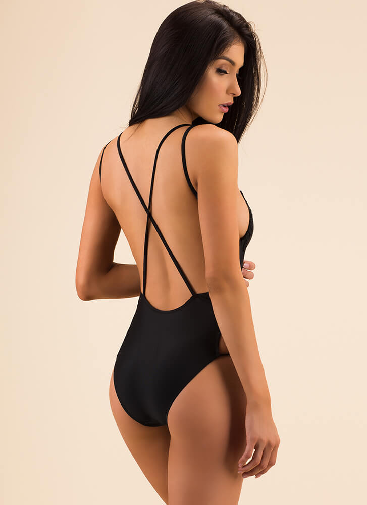 Friendly X's Strappy Cut-Out Swimsuit BLACK (Final Sale)