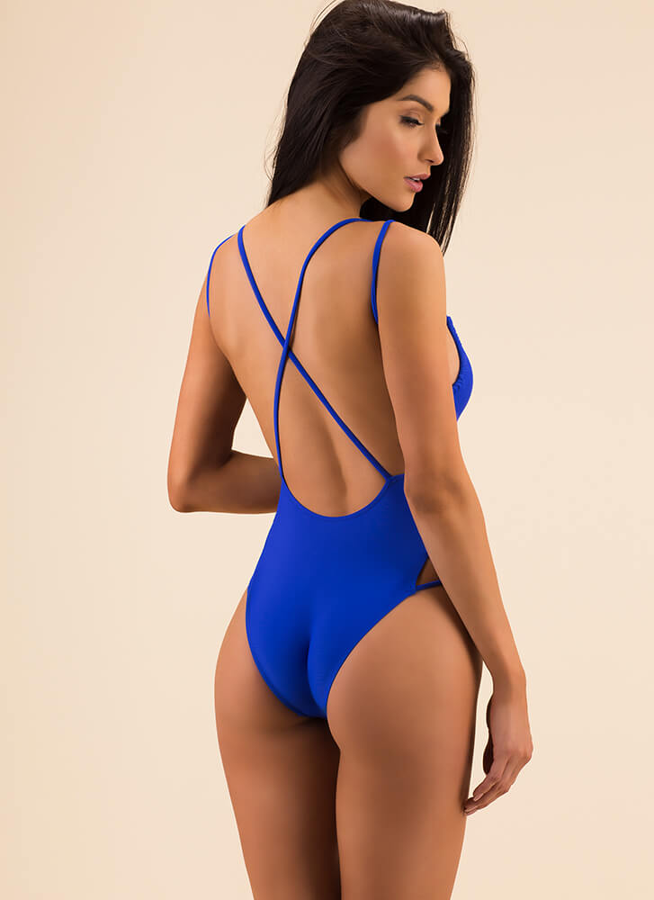 Friendly X's Strappy Cut-Out Swimsuit ROYAL (Final Sale)