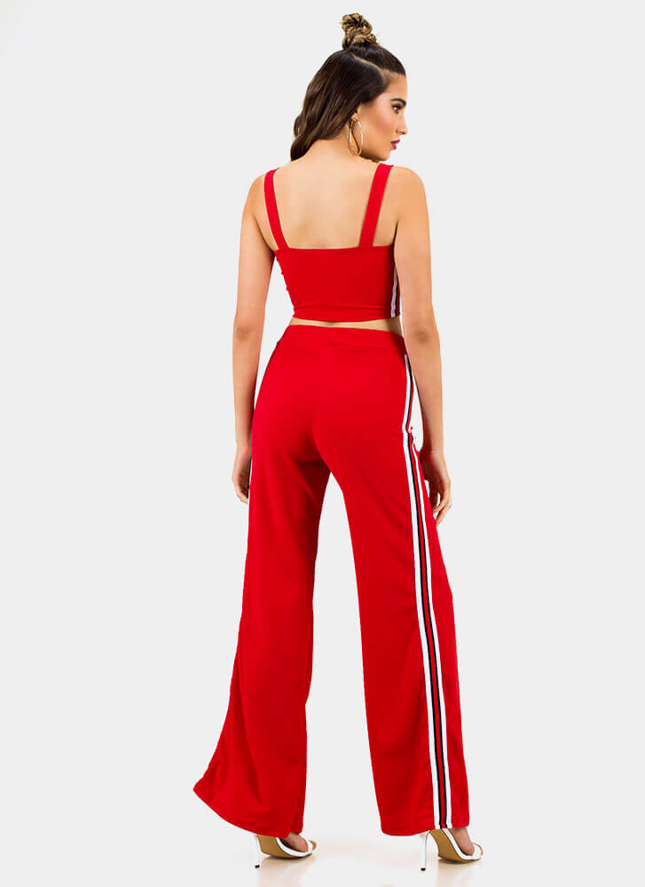 Team Stripes Tank Top And Pant Set RED