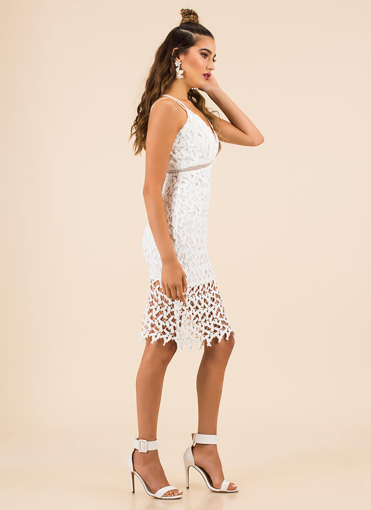Pretty In Petals Netted Overlay Dress WHITE