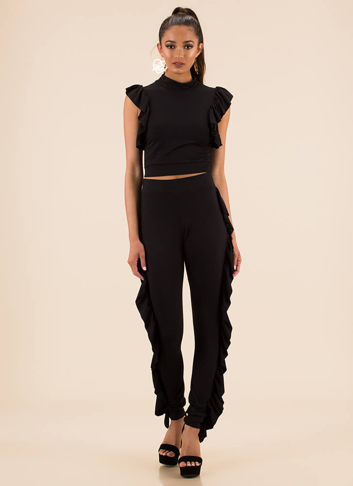 Get Your Frill Ruffled Top And Pant Set BLACK