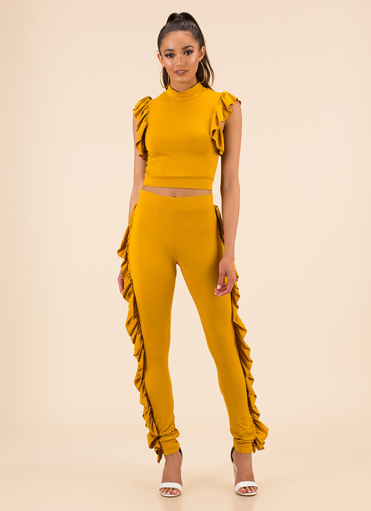 Get Your Frill Ruffled Top And Pant Set MUSTARD