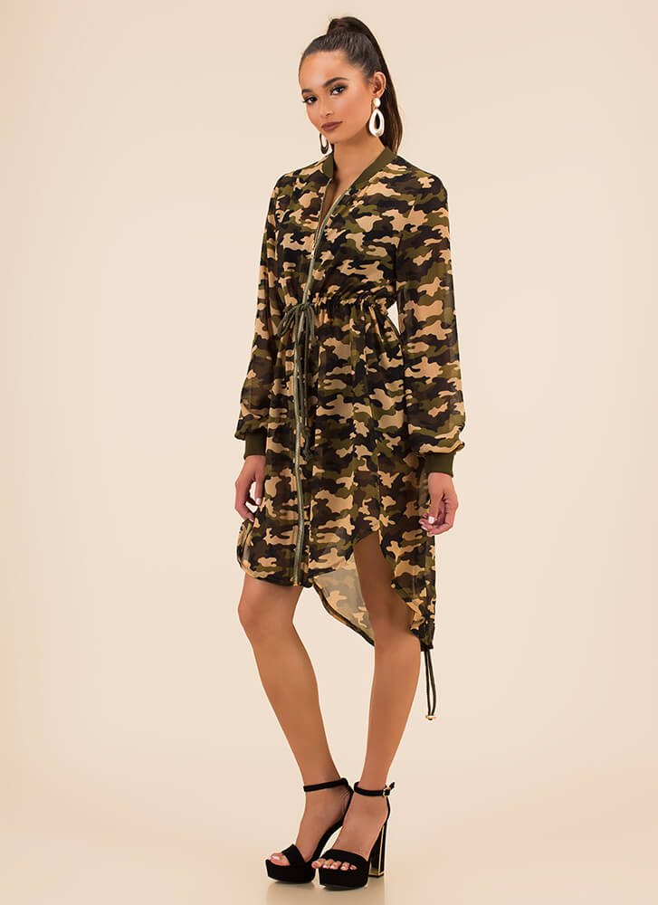 You Can't Hide Drawstring Camo Jacket by Go Jane