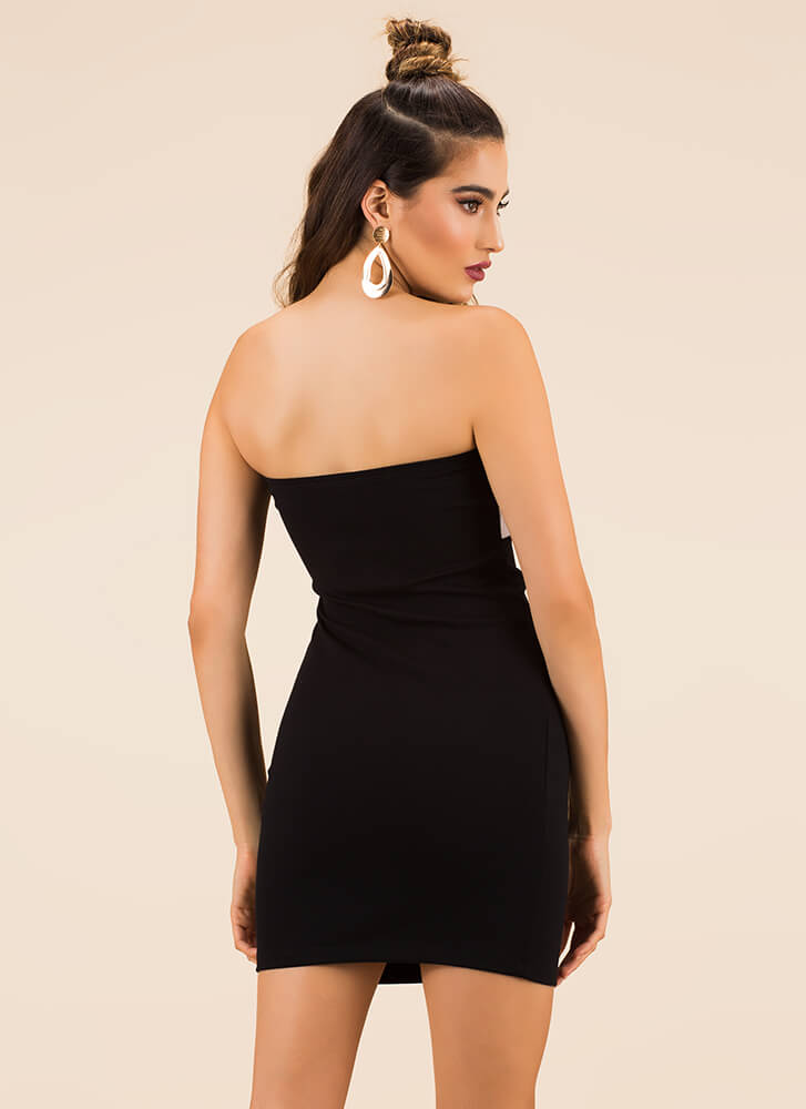 You Bow Girl Strapless Minidress BLACK