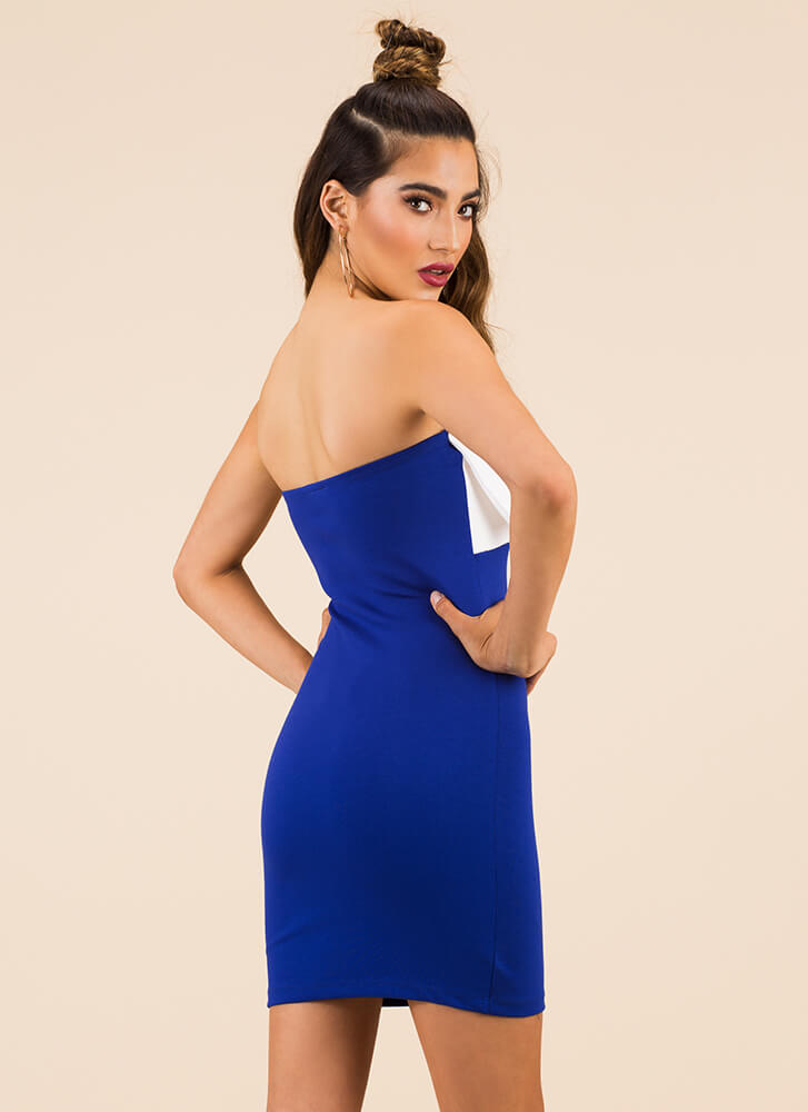 You Bow Girl Strapless Minidress ROYAL