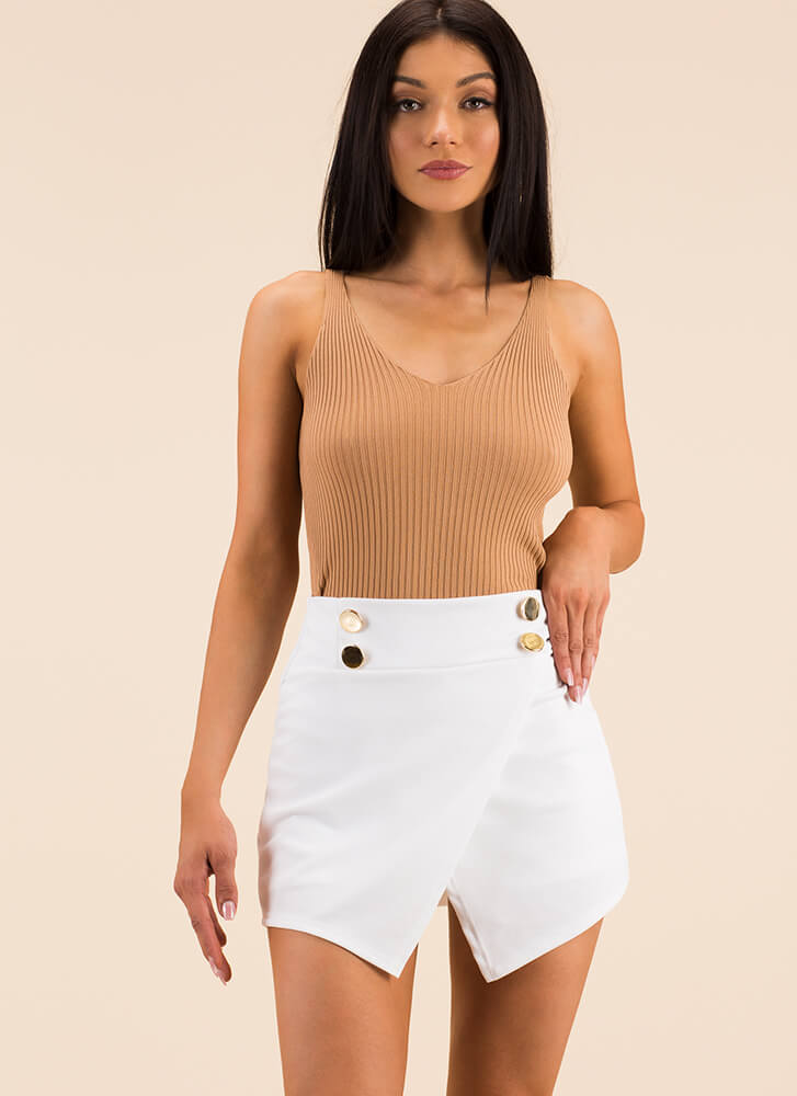 Press The Buttons Wrapped Skort IVORY