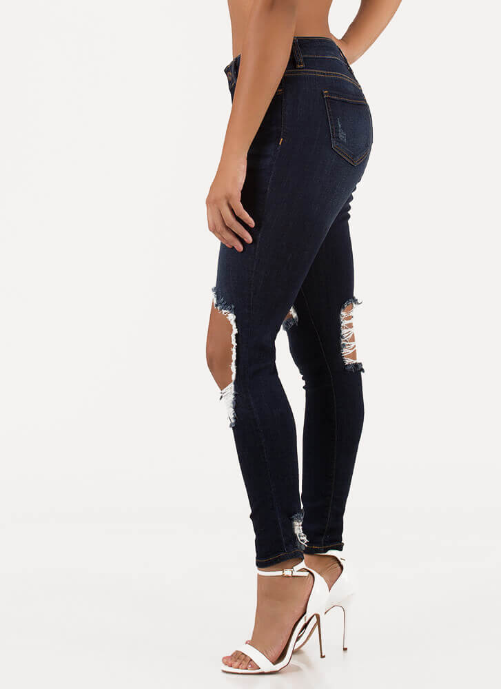 Hole Again Destroyed Skinny Jeans DKBLUE