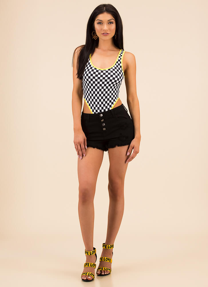 On Your Marks Checkered Cut-Out Bodysuit YELLOW