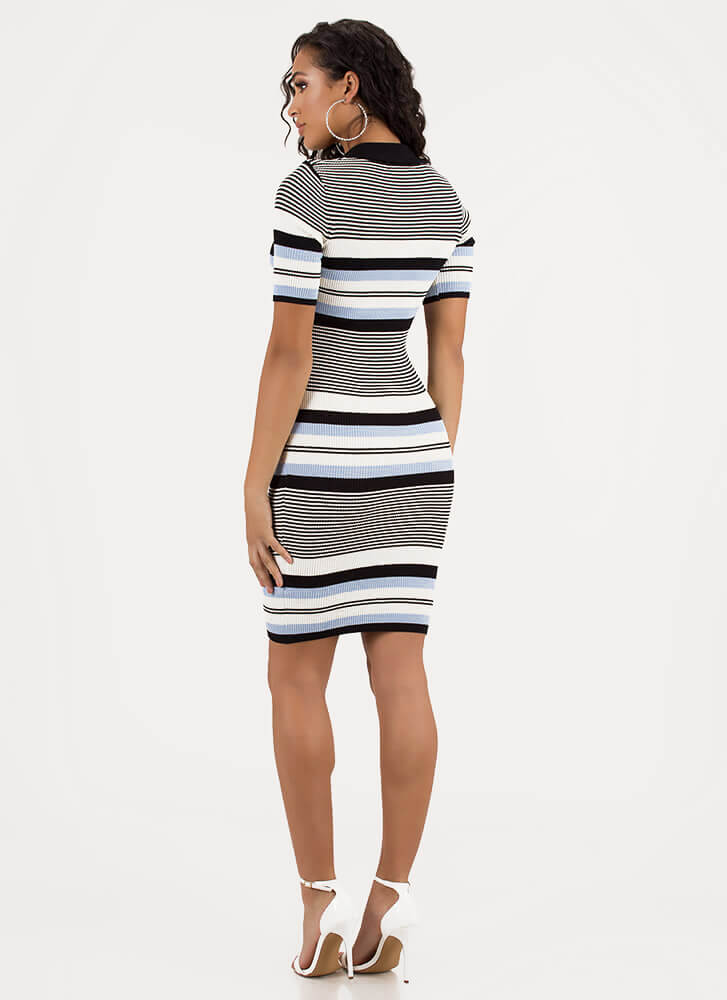 Thru Thick And Thin Striped Knit Dress BLACKMULTI