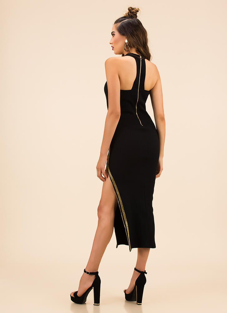 Give A Little Leg Slit Zipper Dress BLACK