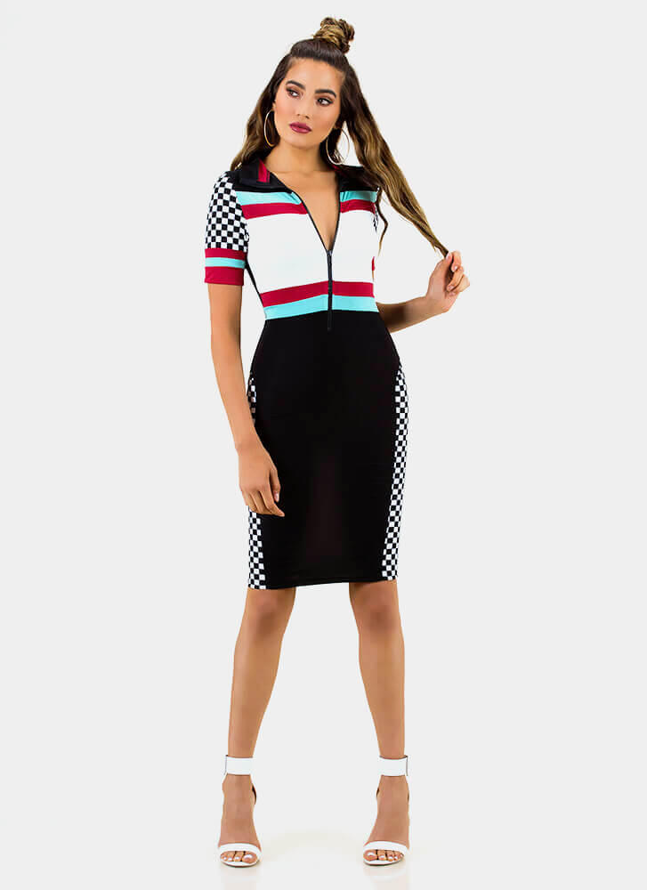 Takeoff Checkered Colorblock Dress BLACK