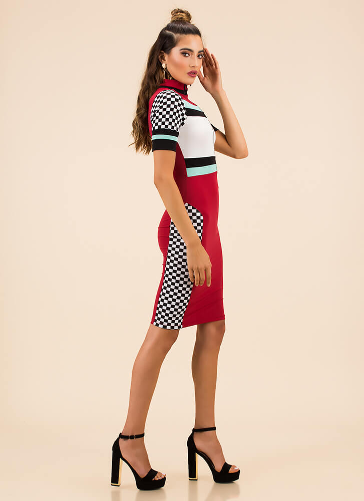 Takeoff Checkered Colorblock Dress RED