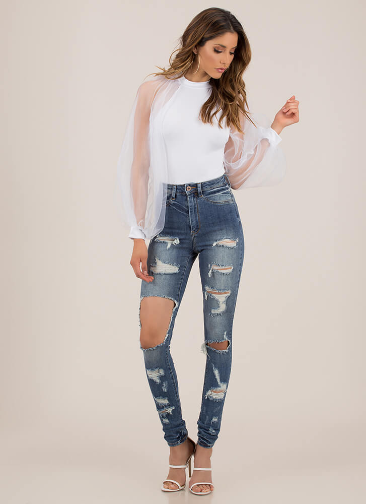 Just Destroyed High-Waisted Skinny Jeans LTBLUE
