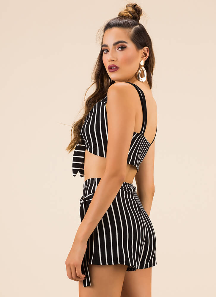 Something Striped Top And Shorts Set BLACK