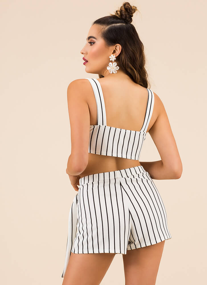 Something Striped Top And Shorts Set WHITE