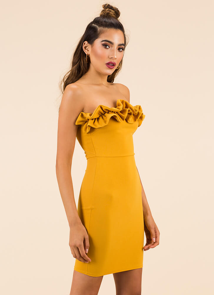 What A Frilling Ruffled Strapless Dress MUSTARD