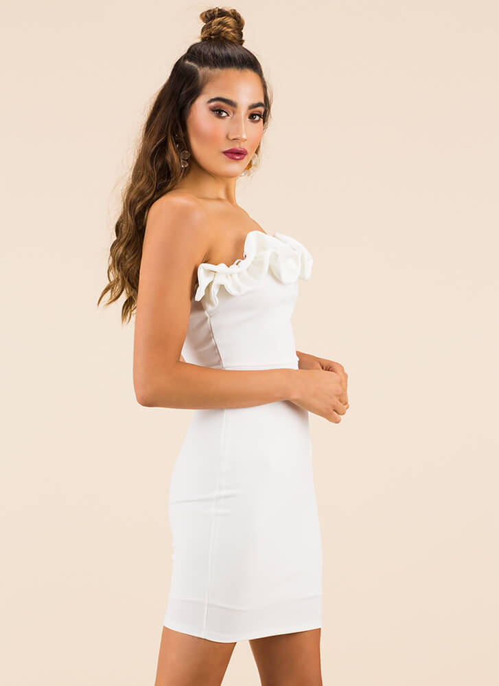What A Frilling Ruffled Strapless Dress WHITE