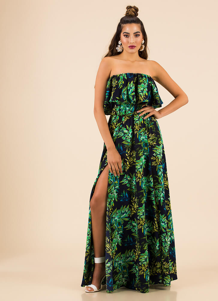 Popular Be-Leaf Strapless Tiered Maxi NAVY