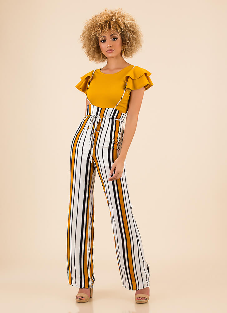 Straps On Striped High Waisted Pants by Go Jane