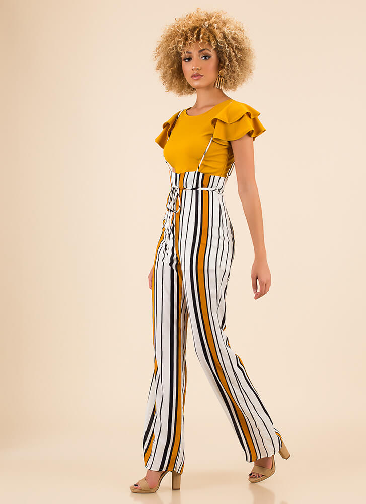 Straps On Striped High-Waisted Pants YELLOWMULTI