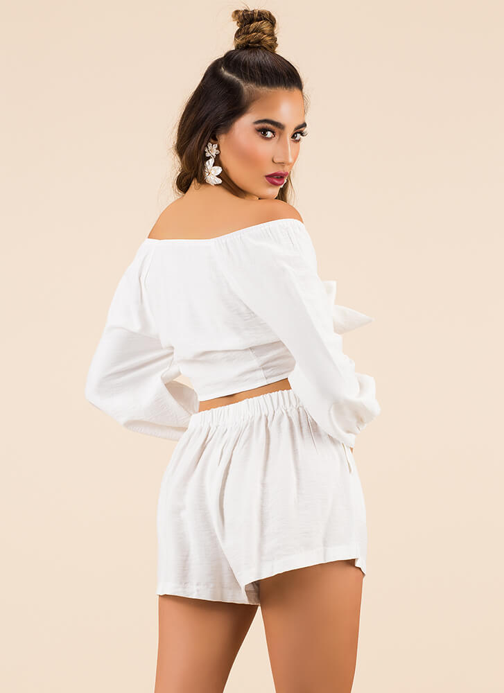It's A Bow-tiful Day Top And Shorts Set WHITE