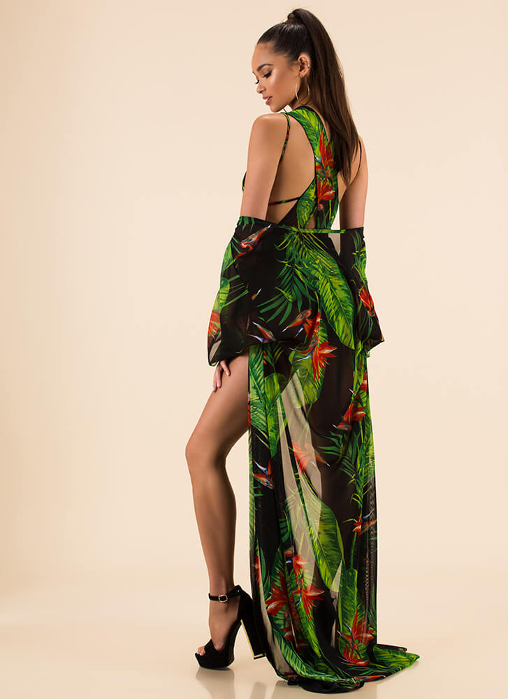 Feeling Tropical Swimsuit And Duster Set BLACK