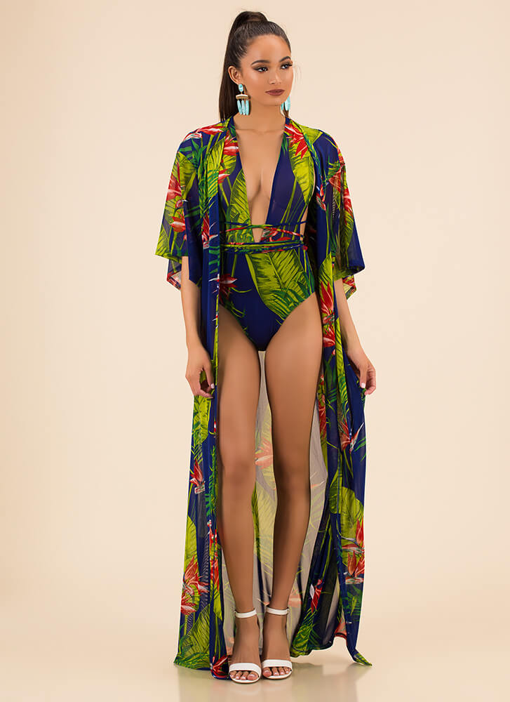 Feeling Tropical Swimsuit And Duster Set ROYAL