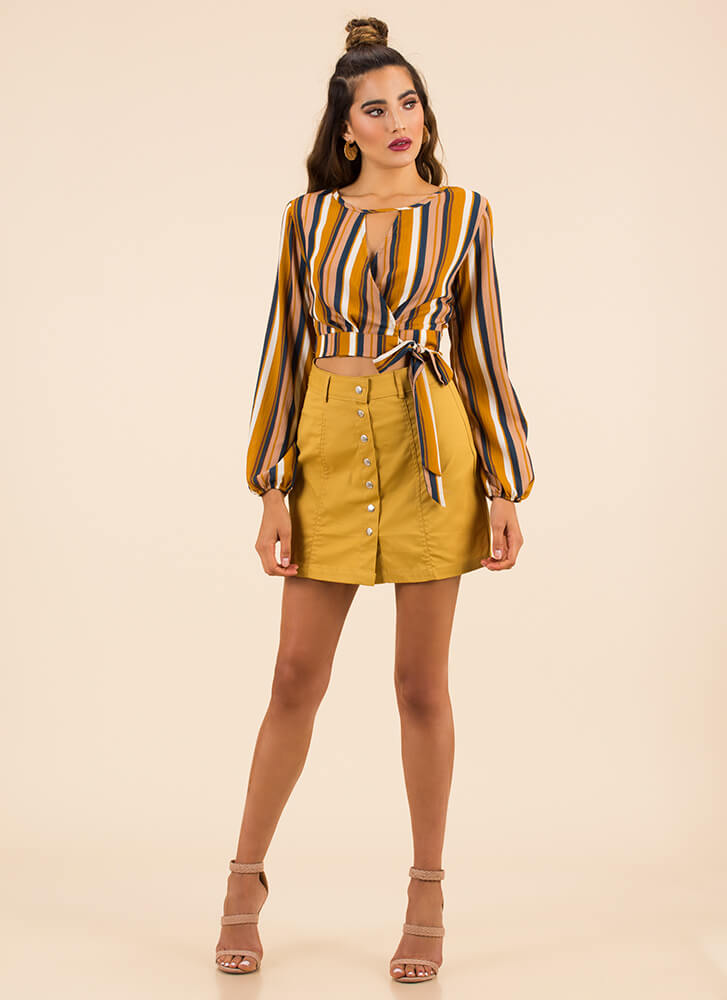 You're Cute As A Button-Up Miniskirt MUSTARD
