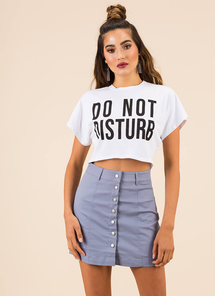 You're Cute As A Button-Up Miniskirt SLATE