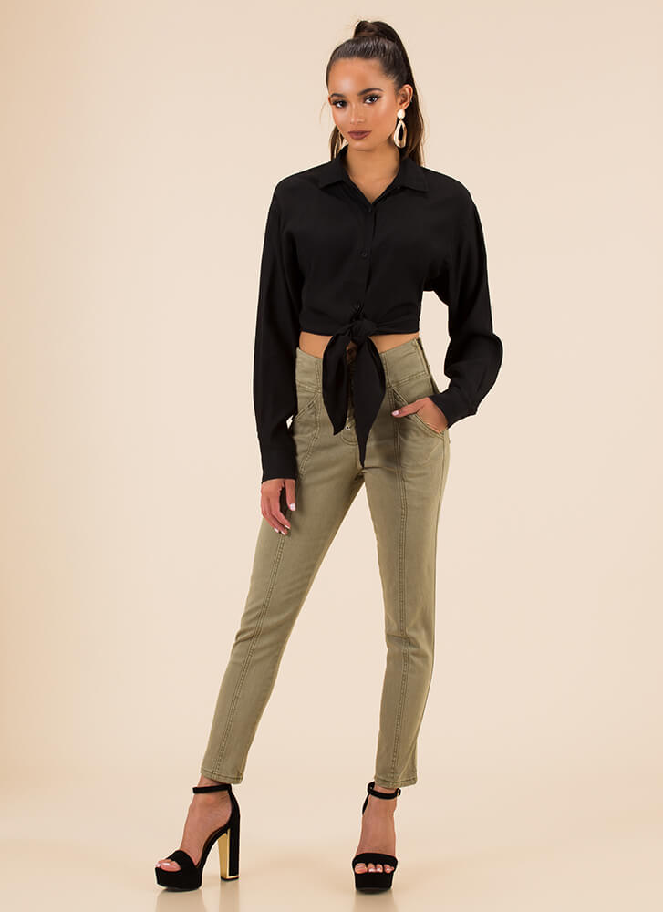 Classic Beauty Cropped Bow-Front Blouse BLACK