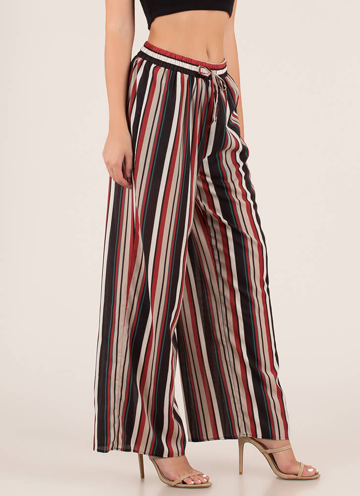 Going Abroad Striped Palazzo Pants BLACK (You Saved $12)