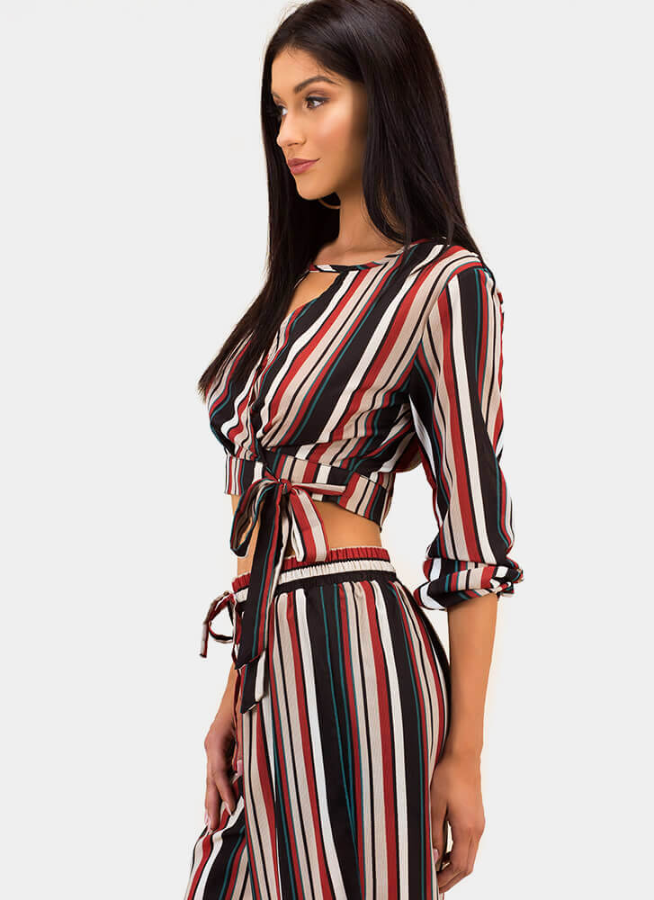 Going Abroad Striped Wrapped Crop Top BLACK
