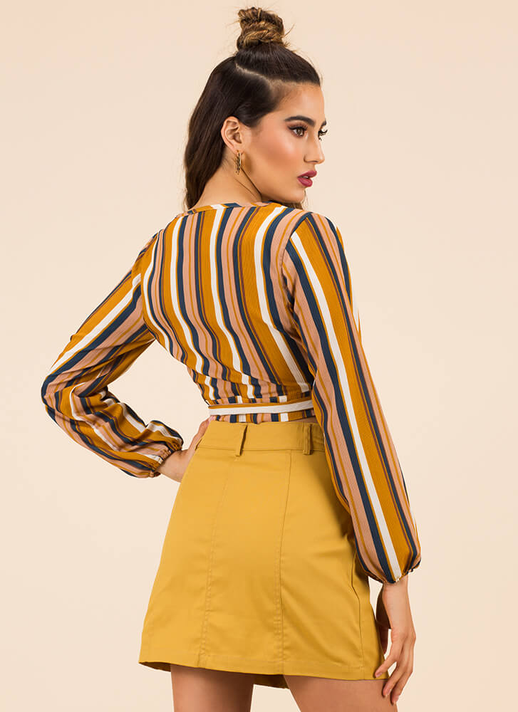 Going Abroad Striped Wrapped Crop Top MUSTARD