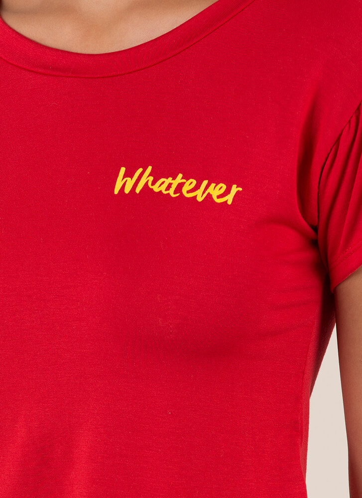 Yeah Whatever Cropped Graphic Tee RED