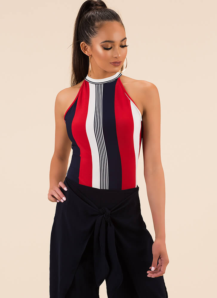 Finish Lines Striped Cut-Out Bodysuit RED