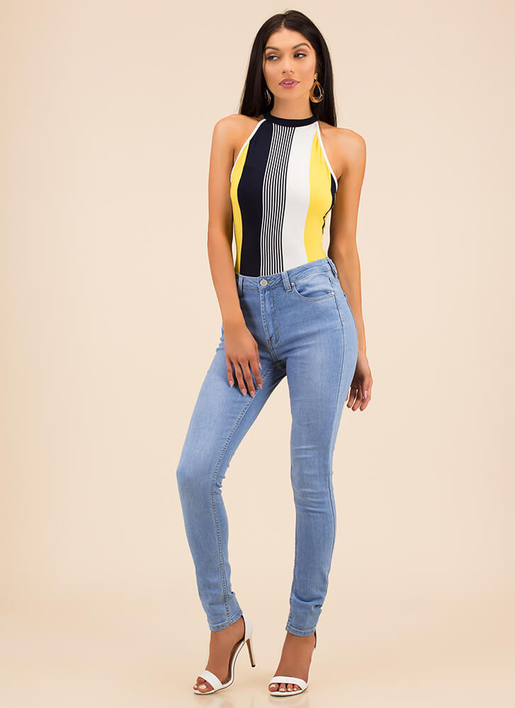 Finish Lines Striped Cut-Out Bodysuit YELLOW