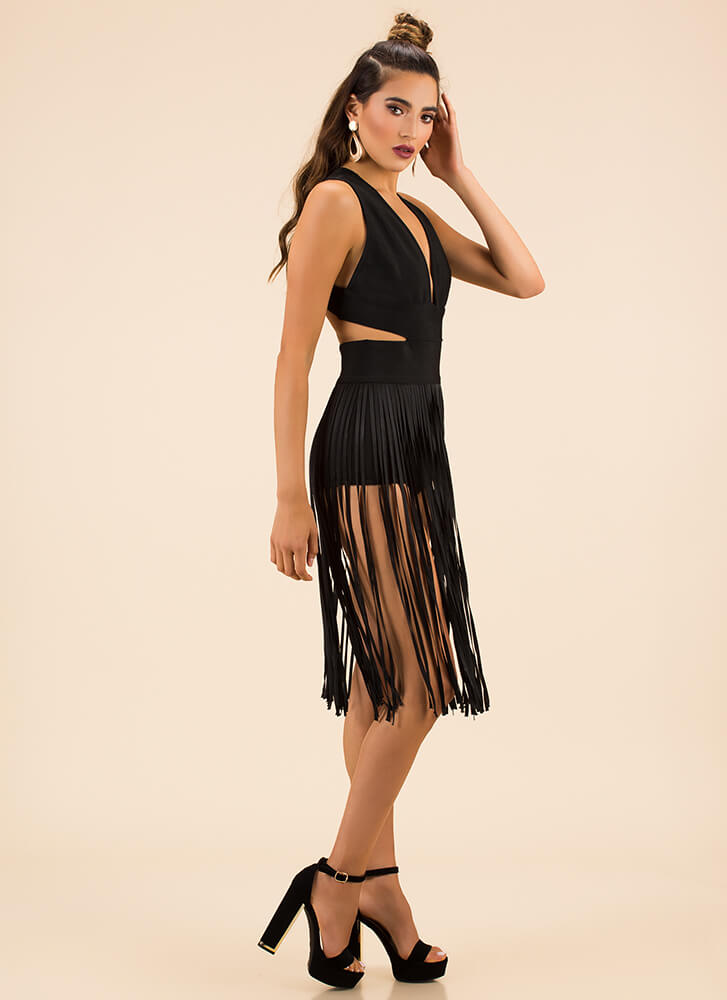 All About The Fringe Bandage Dress BLACK