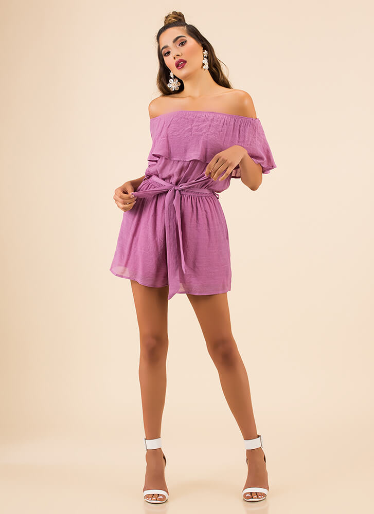 Simply Splendid Tied Off-Shoulder Romper MAGENTA