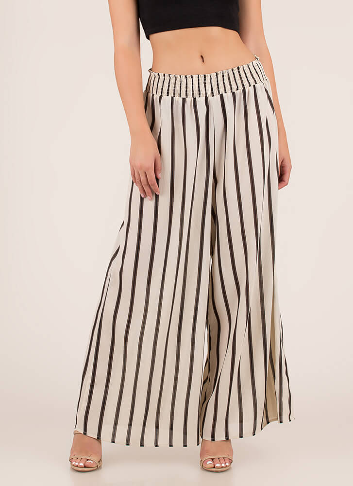 Wide Awake Striped Palazzo Pants NATURAL