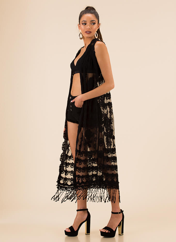 Vintage Style Embroidered Mesh Duster BLACK